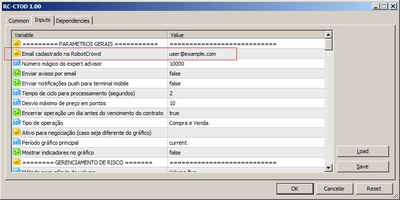 Configuração de email nos ajustes do robô