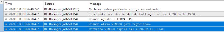 Mensagem inicialização